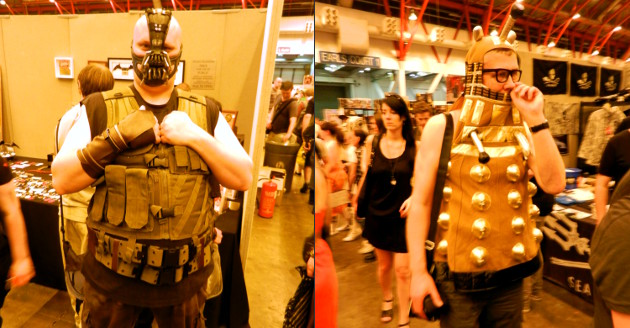 Someone dressed as Bane and someone dressed as a Dalek