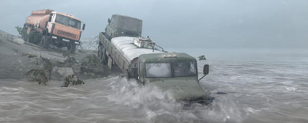 A lorry driving through a river, in the game