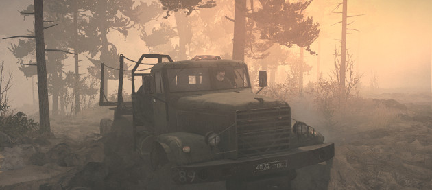 A truck stuck in mud, from the game