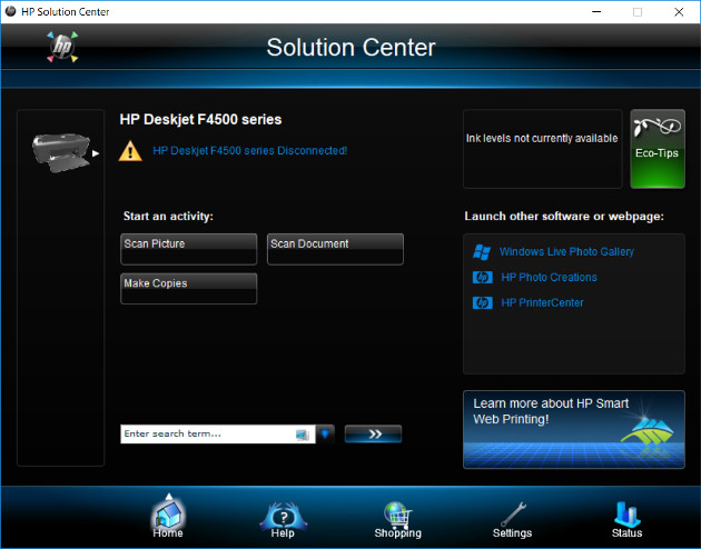 The HP Solution Center, showing the main screen with various options