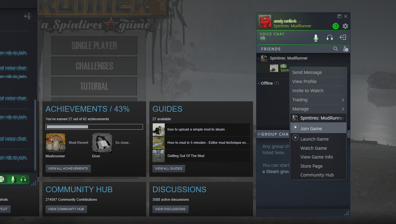 Steam's friends menu.
