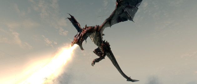 A dragon on the wing spouting flame.