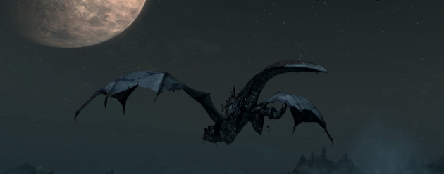 A dragon flying off towards the moon.