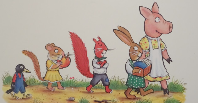 Rabbit is looking very angry at Dormouse.