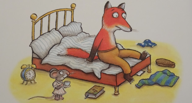 Fox and the mouse in his bedroom.
