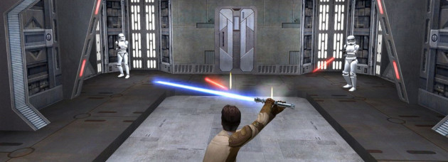 Screenshot of Jedi Knight 2 showing, well, dull gameplay, frankly.