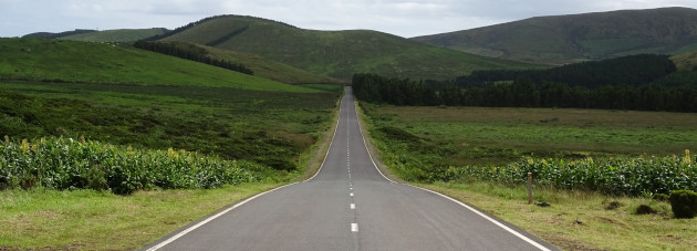 An empty road stretching off across a green landscape. To symbolise freedom. Perhaps.