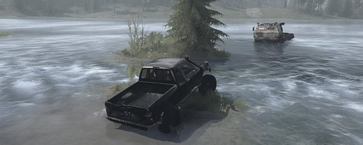 Screenshot from MudRunner showing two trucks driving offroad.