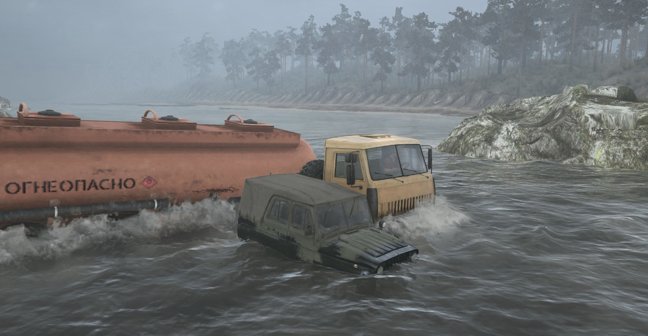 My lorry and my Dad's jeep both hood deep in a fast flowing river. Both vehicles were lost soon after.